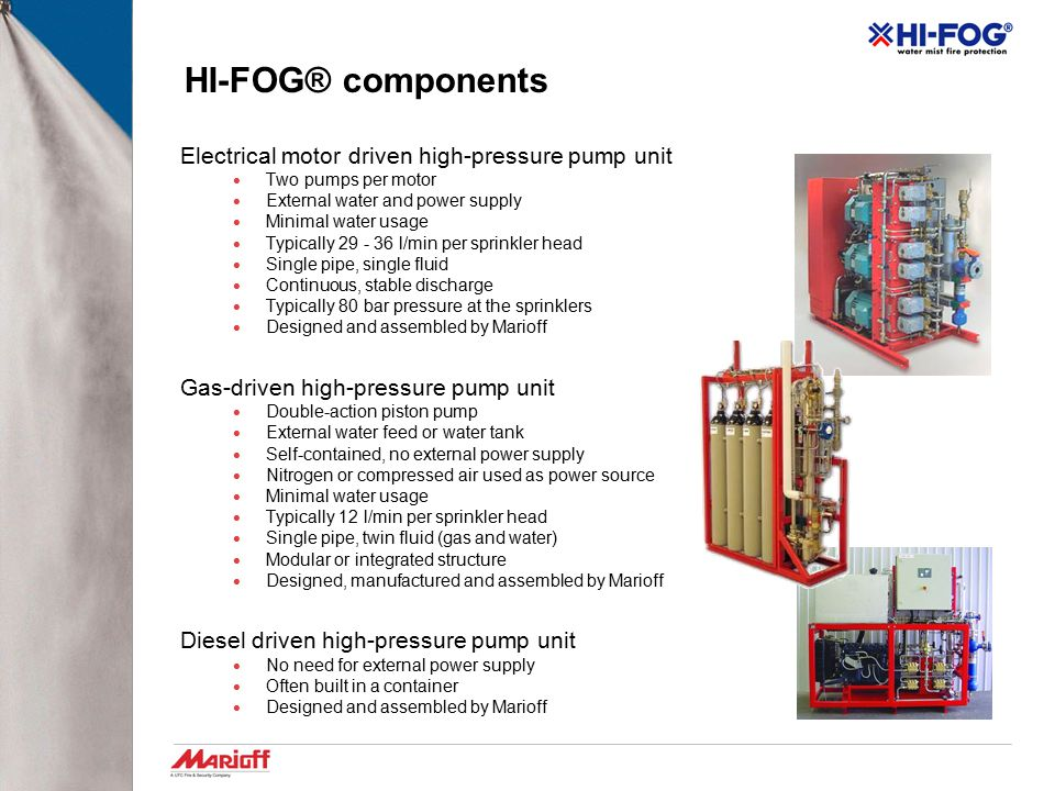 HI-FOG® components Electrical motor driven high-pressure pump unit