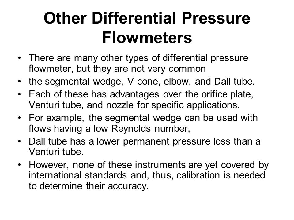 Other Differential Pressure Flowmeters