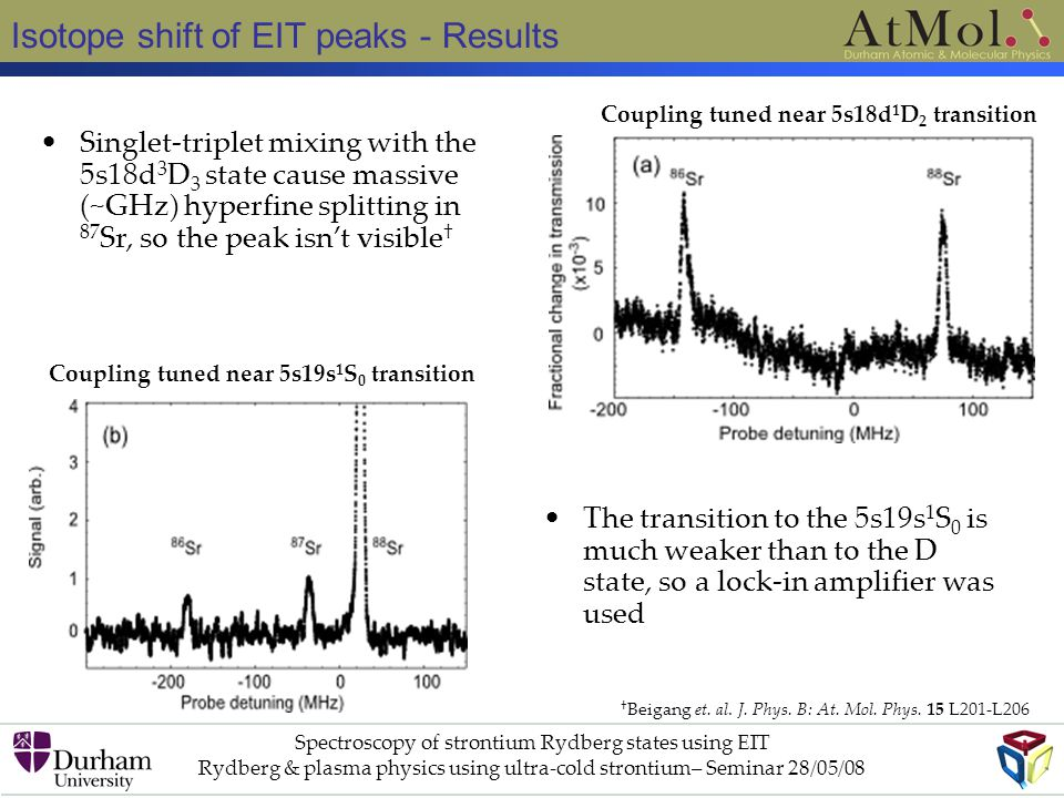 Isotope shift of EIT peaks - Results