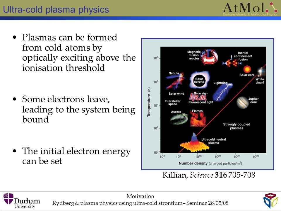Rydberg & plasma physics using ultra-cold strontium– Seminar 28/05/08
