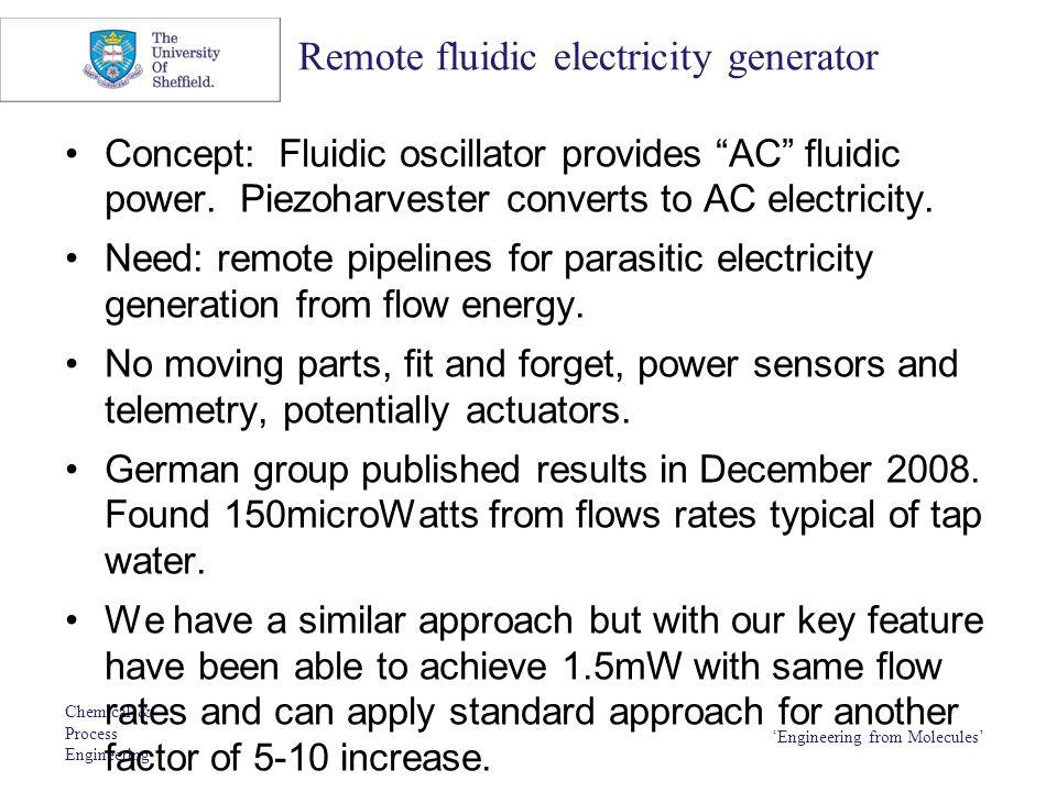 Remote fluidic electricity generator