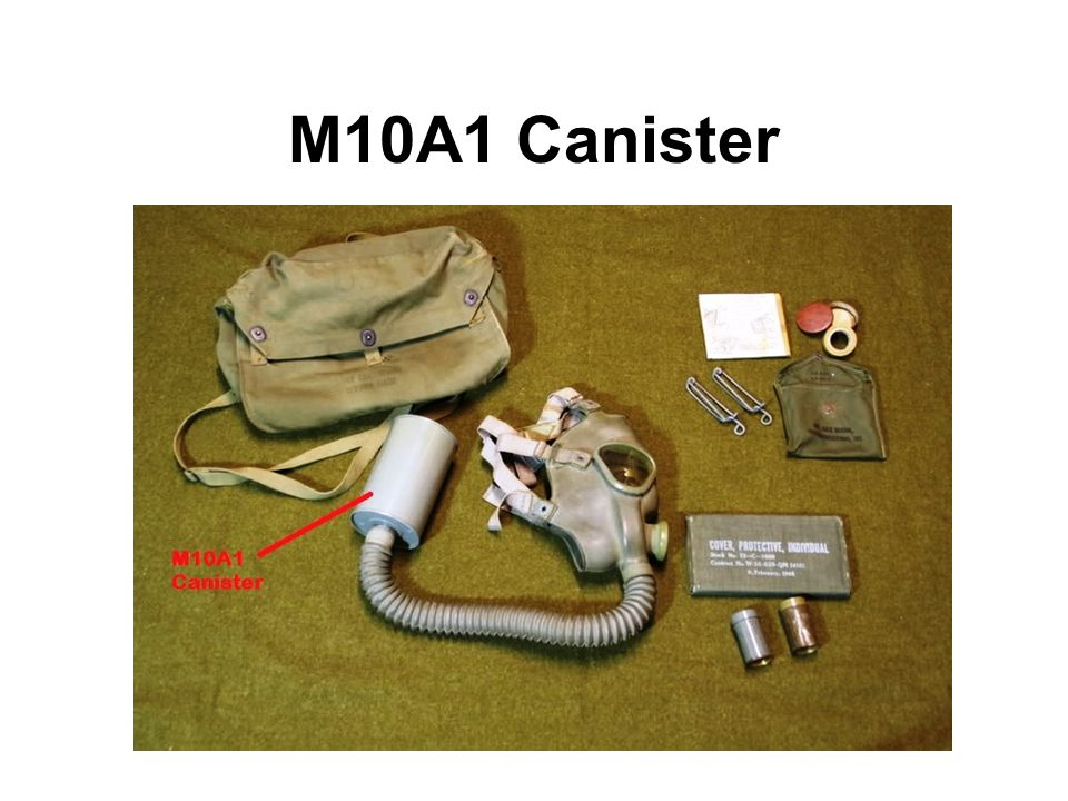 M10A1 Canister The M10A1 respirator canister was the first high efficiency filter deployed by the US Military.