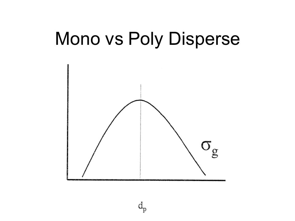 Mono vs Poly Disperse Poly-disperse aerosol has a large σg typically > 2.