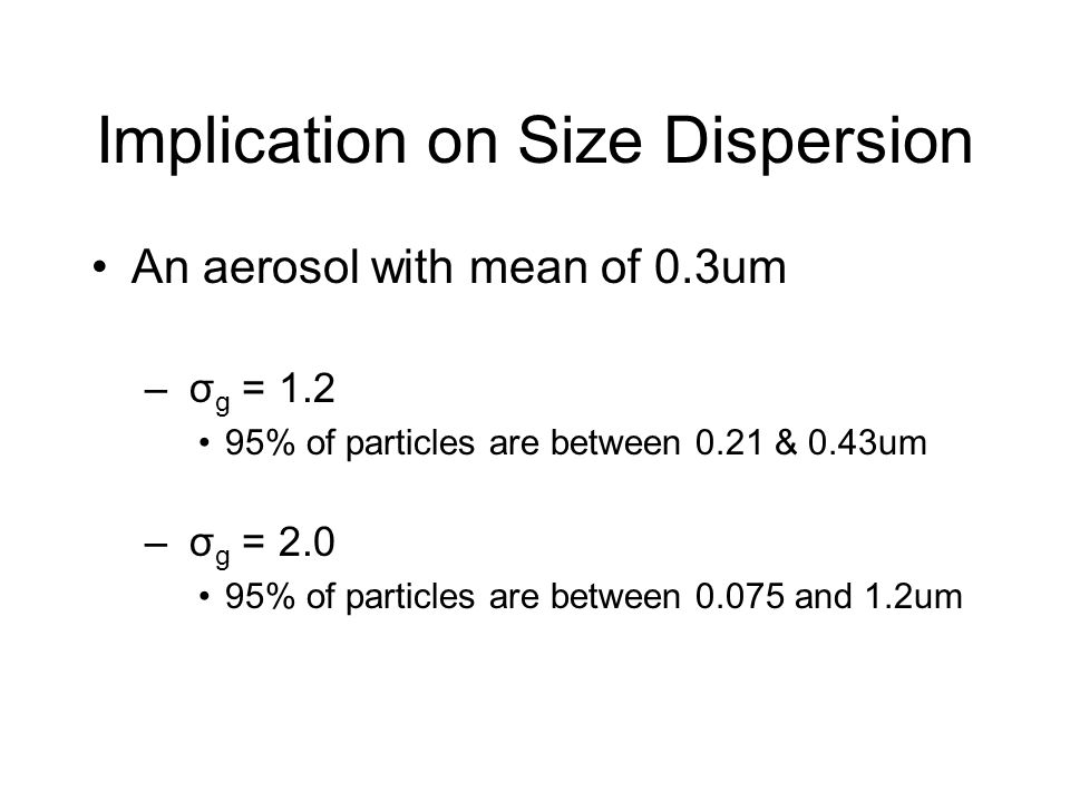 Implication on Size Dispersion