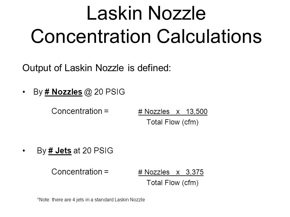 Laskin Nozzle Concentration Calculations