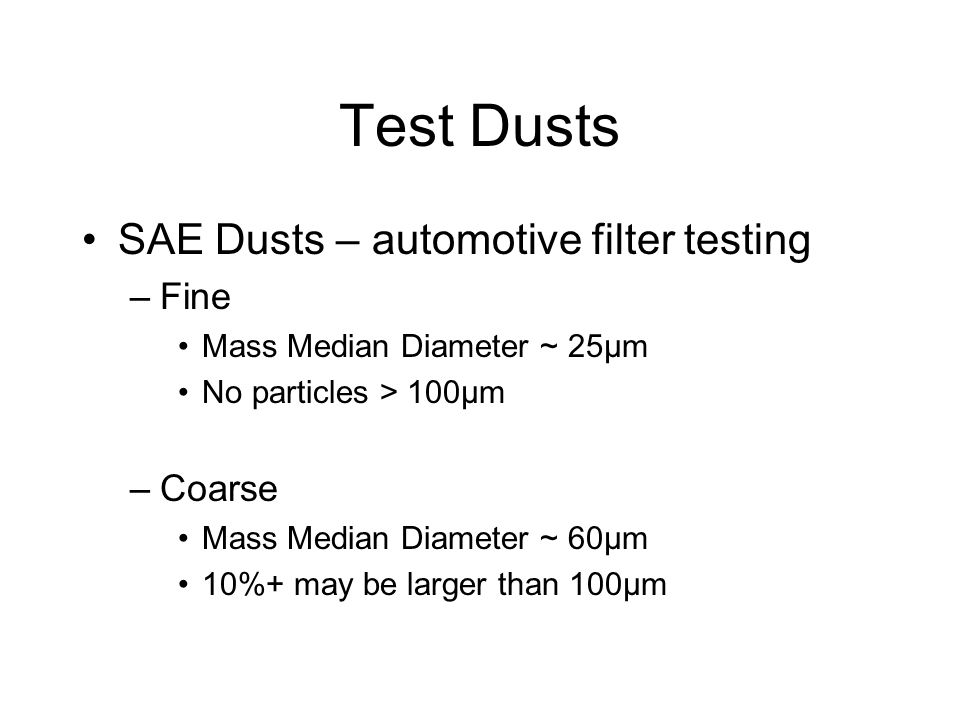 Test Dusts SAE Dusts – automotive filter testing Fine Coarse