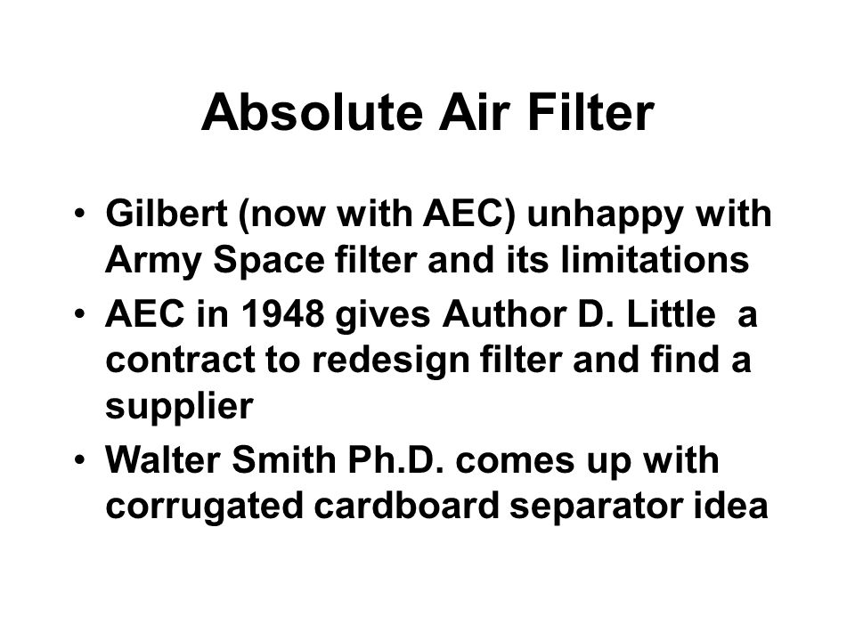 Absolute Air Filter Gilbert (now with AEC) unhappy with Army Space filter and its limitations.