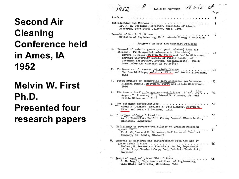 Second Air Cleaning Conference held in Ames, IA 1952 Melvin W.
