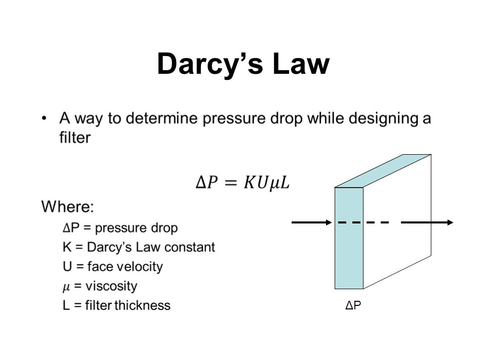 Darcy's Law As systems require maximum resistance ratings, filter manufacturers must design around this parameter.