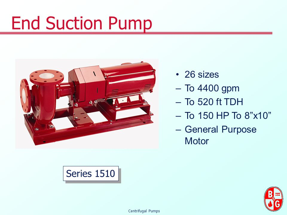End Suction Pump 26 sizes To 4400 gpm To 520 ft TDH