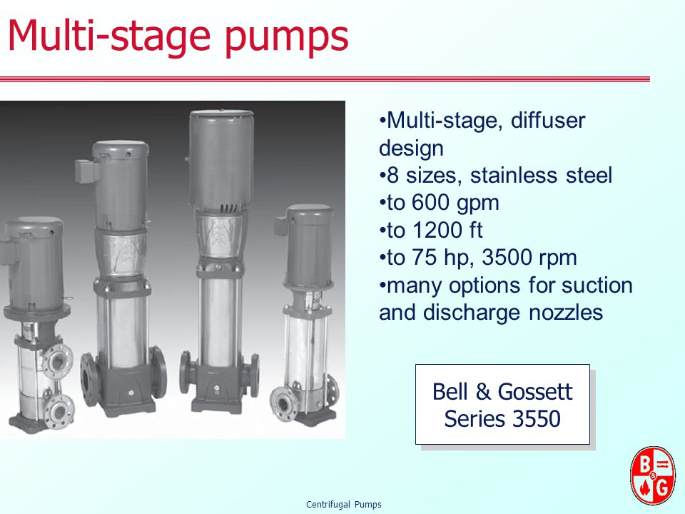 Multi-stage pumps Multi-stage, diffuser design