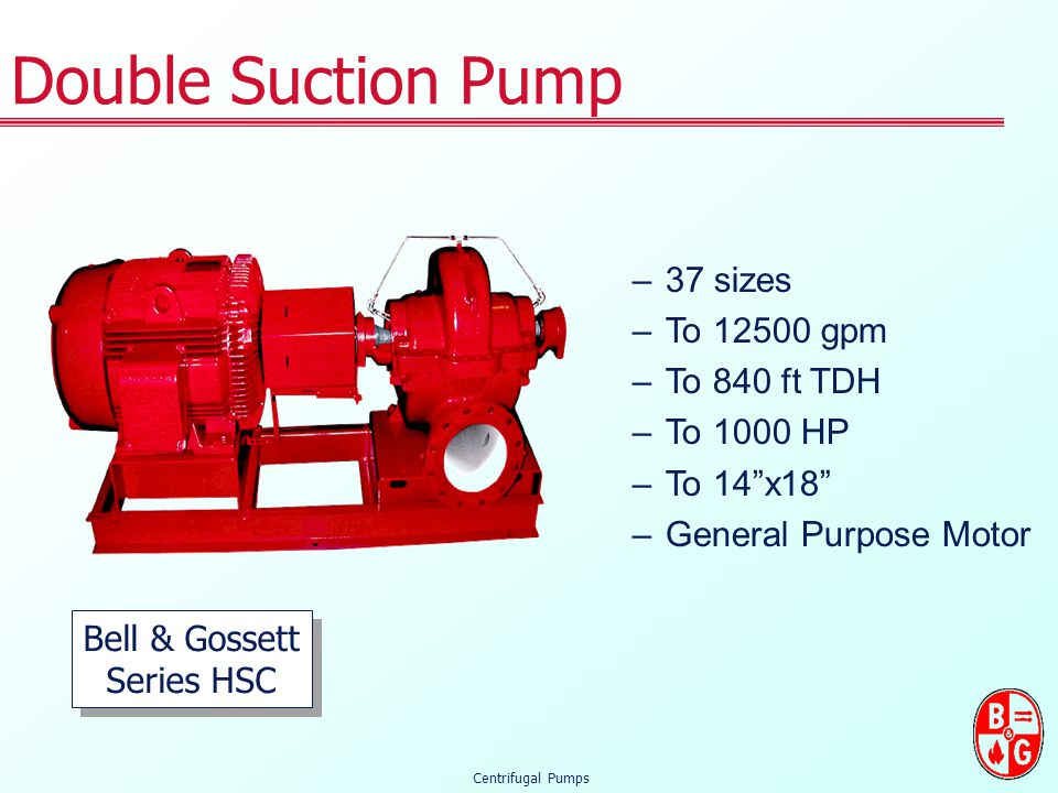 Double Suction Pump 37 sizes To 12500 gpm To 840 ft TDH To 1000 HP