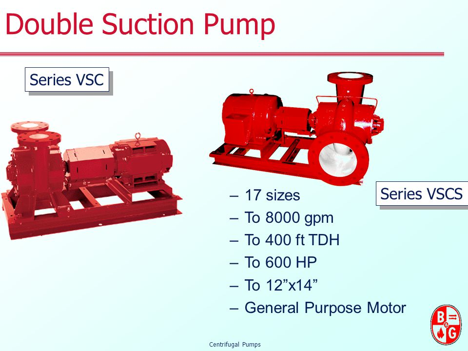 Double Suction Pump Series VSC 17 sizes To 8000 gpm Series VSCS
