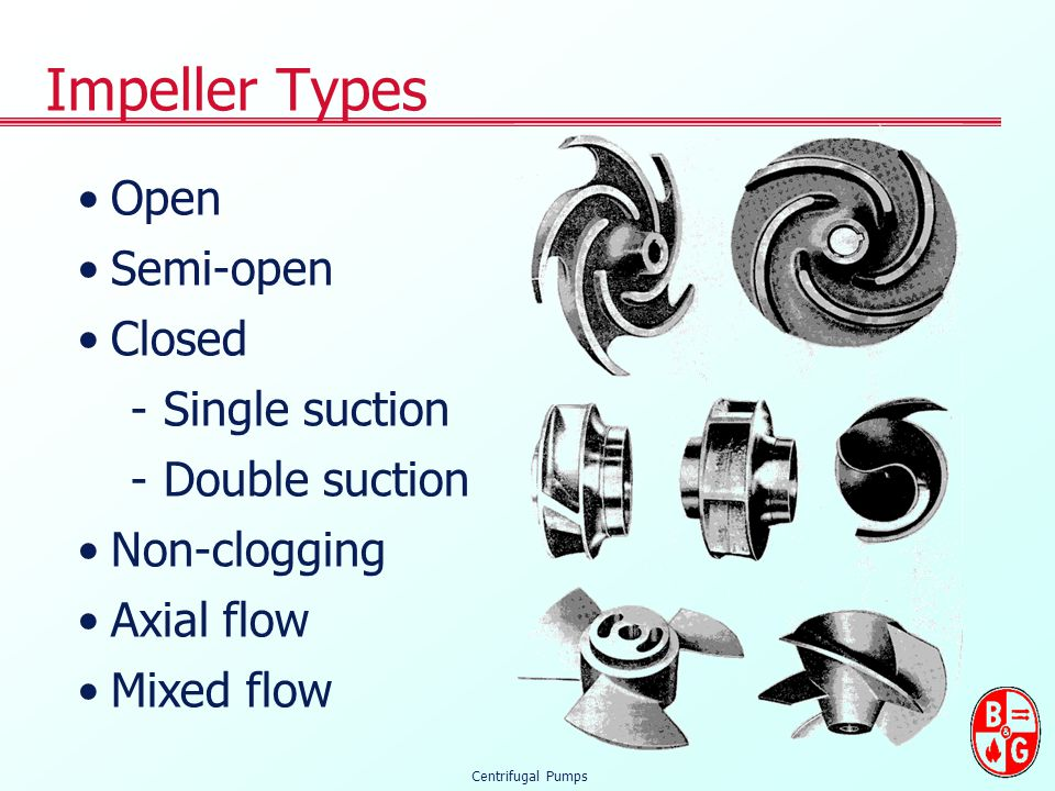 Impeller Types Open Semi-open Closed Single suction Double suction