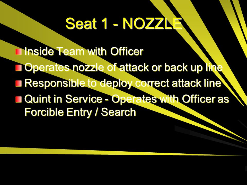 Seat 1 - NOZZLE Inside Team with Officer