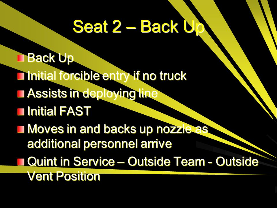 Seat 2 – Back Up Back Up Initial forcible entry if no truck
