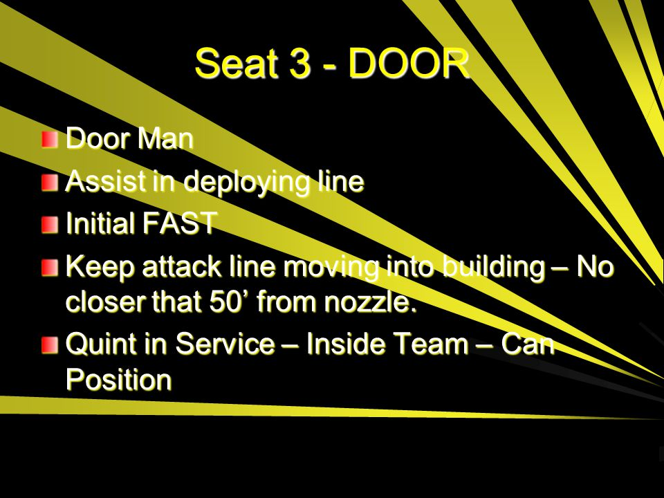 Seat 3 - DOOR Door Man Assist in deploying line Initial FAST