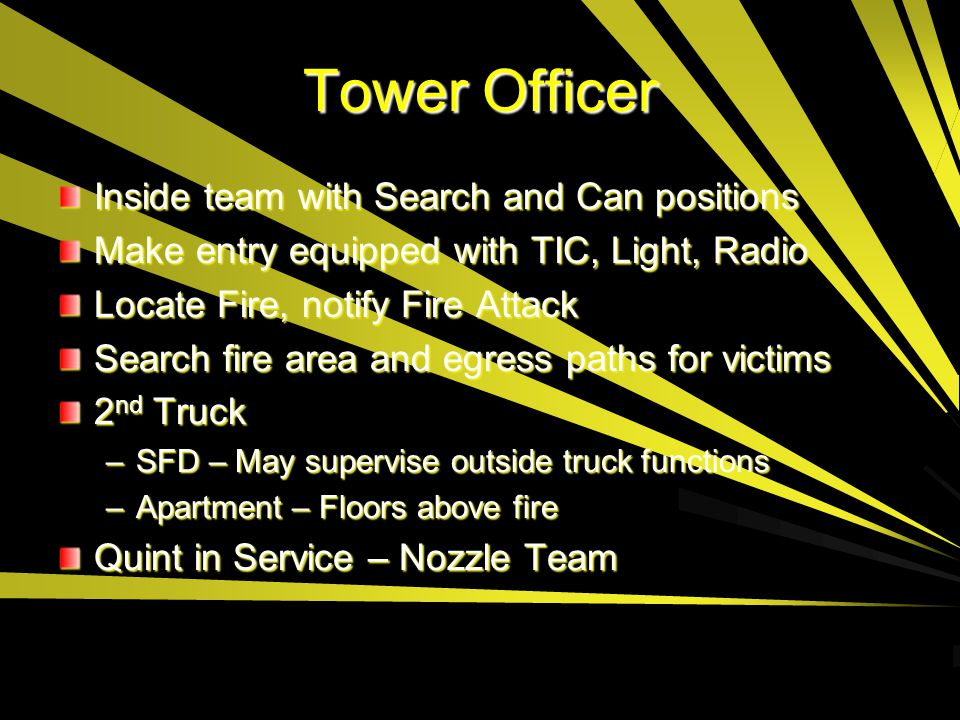 Tower Officer Inside team with Search and Can positions