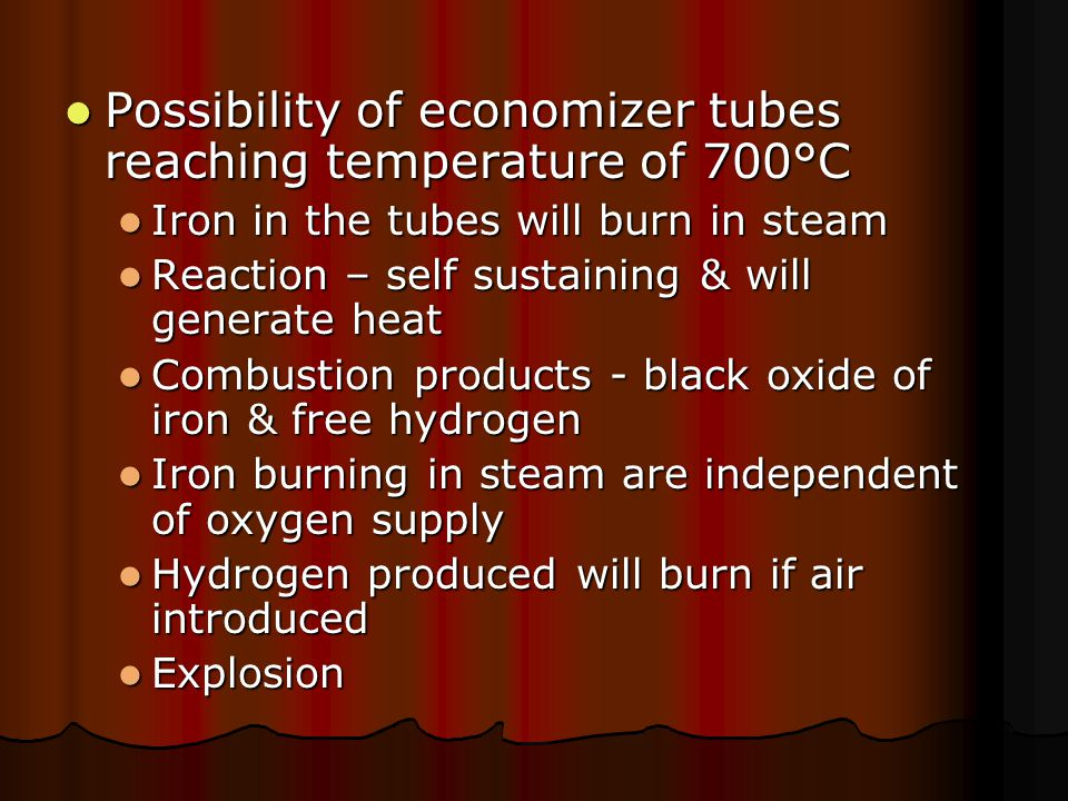 Possibility of economizer tubes reaching temperature of 700°C