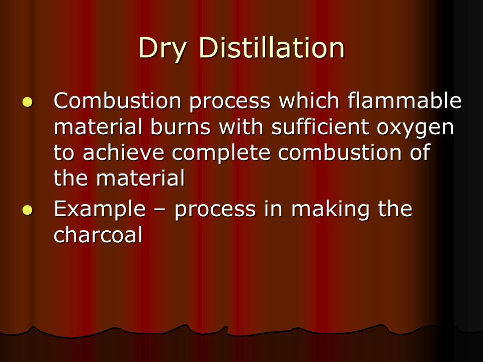 Dry Distillation Combustion process which flammable material burns with sufficient oxygen to achieve complete combustion of the material.