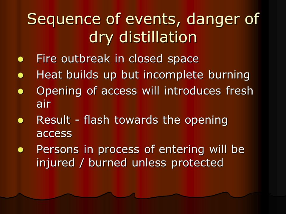 Sequence of events, danger of dry distillation