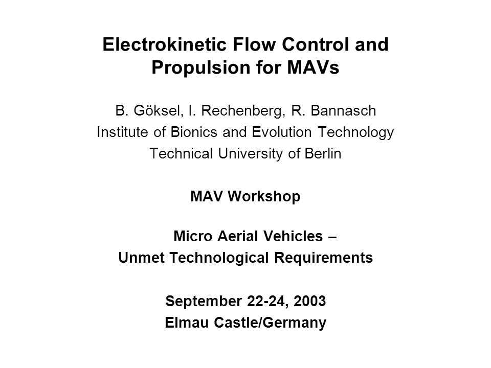 Electrokinetic Flow Control and Propulsion for MAVs