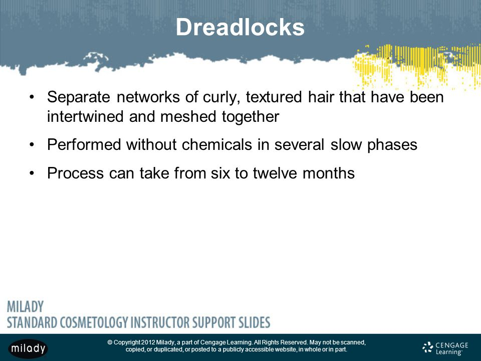 Dreadlocks Separate networks of curly, textured hair that have been intertwined and meshed together.
