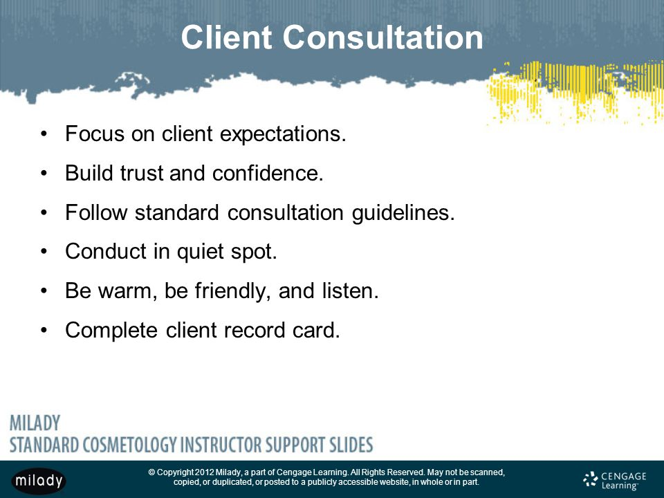 Client Consultation Focus on client expectations.