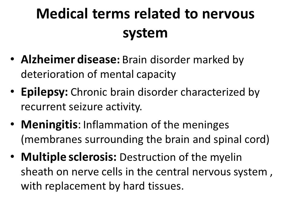 Medical terms related to nervous system