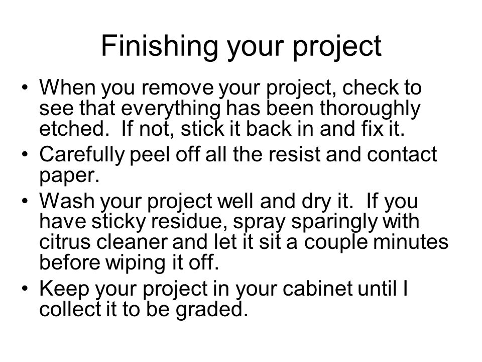 Finishing your project