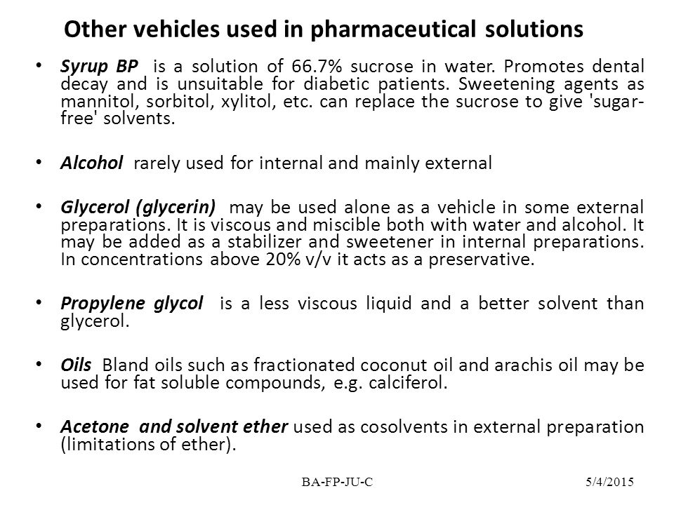 Other vehicles used in pharmaceutical solutions