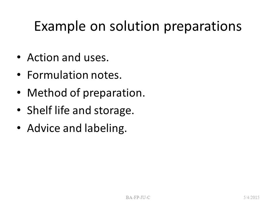 Example on solution preparations