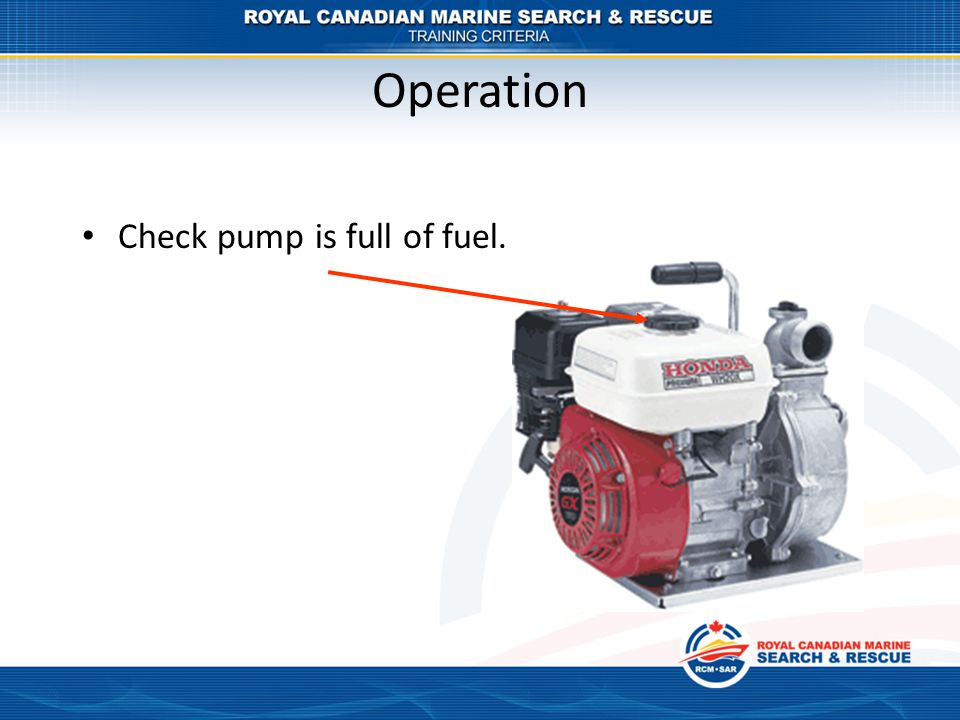 Operation Check pump is full of fuel.