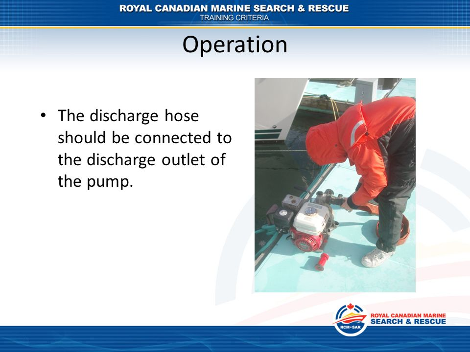 Operation The discharge hose should be connected to the discharge outlet of the pump.