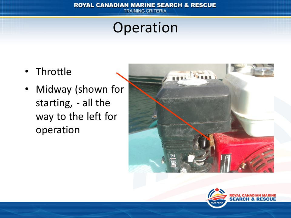Operation Throttle Midway (shown for starting, - all the way to the left for operation