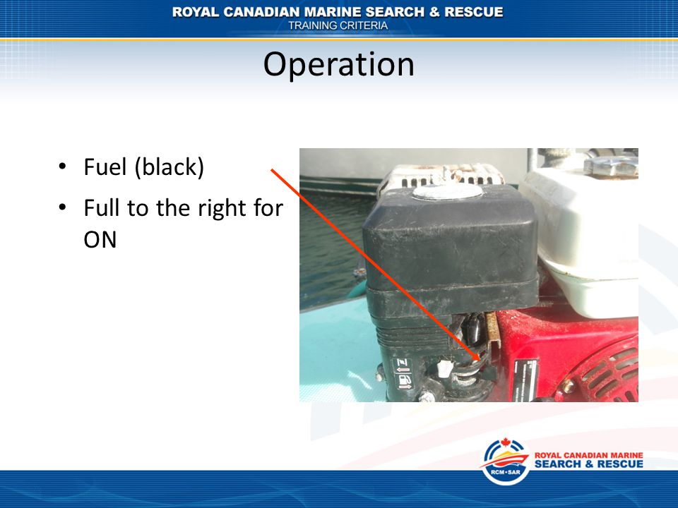 Operation Fuel (black) Full to the right for ON
