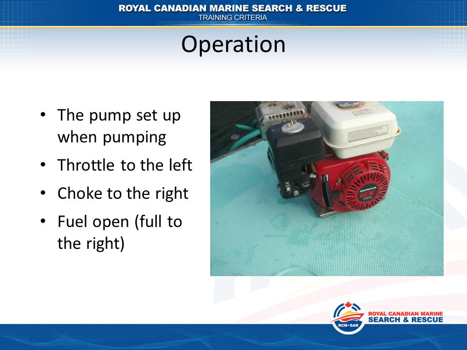 Operation The pump set up when pumping Throttle to the left