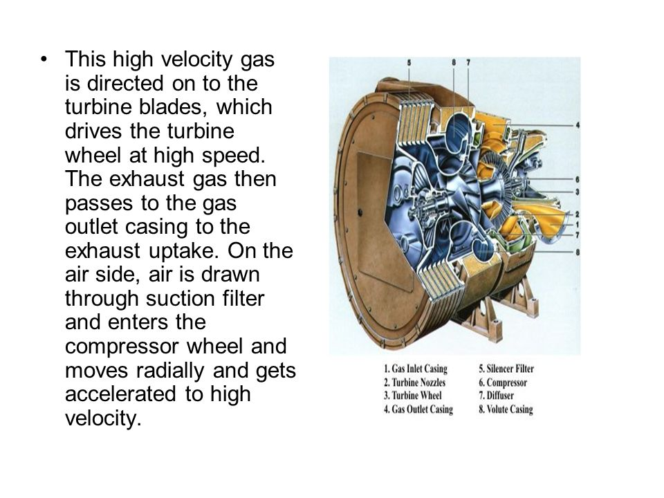 This high velocity gas is directed on to the turbine blades, which drives the turbine wheel at high speed.