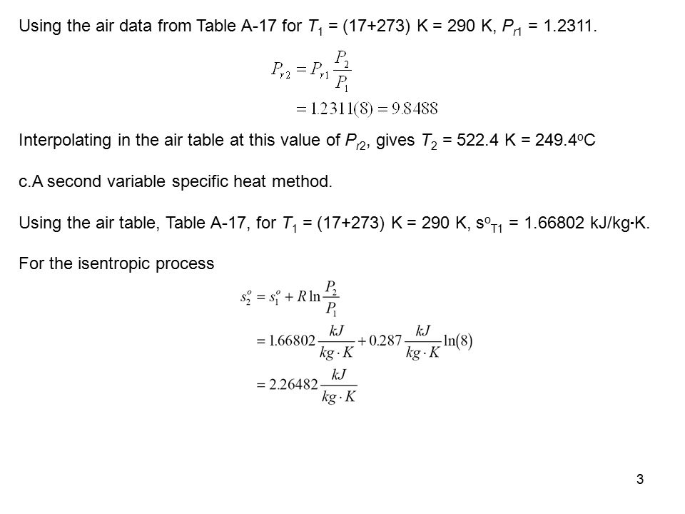Using the air data from Table A-17 for T1 = (17+273) K = 290 K, Pr1 = 1.2311.