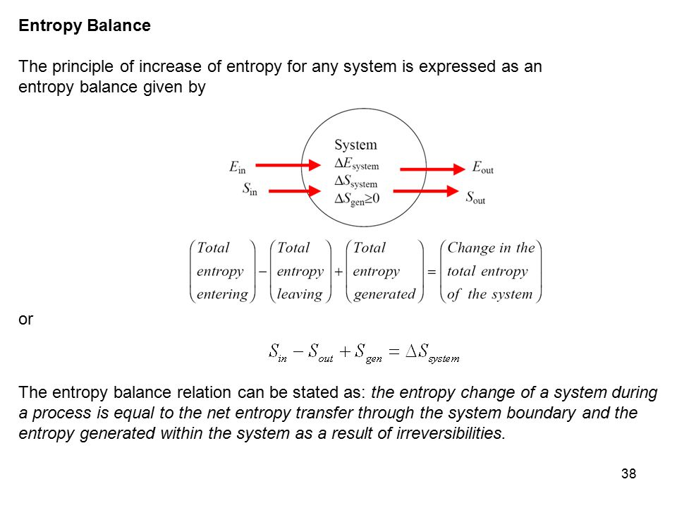Entropy Balance The principle of increase of entropy for any system is expressed as an. entropy balance given by.