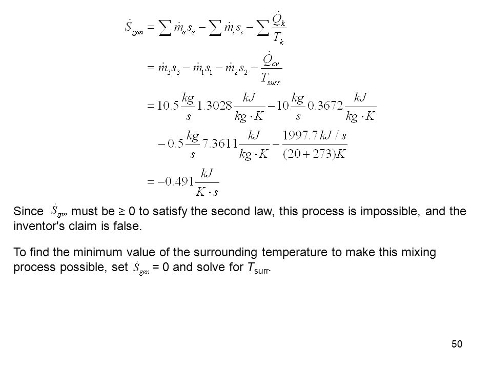 Since must be ≥ 0 to satisfy the second law, this process is impossible, and the inventor s claim is false.