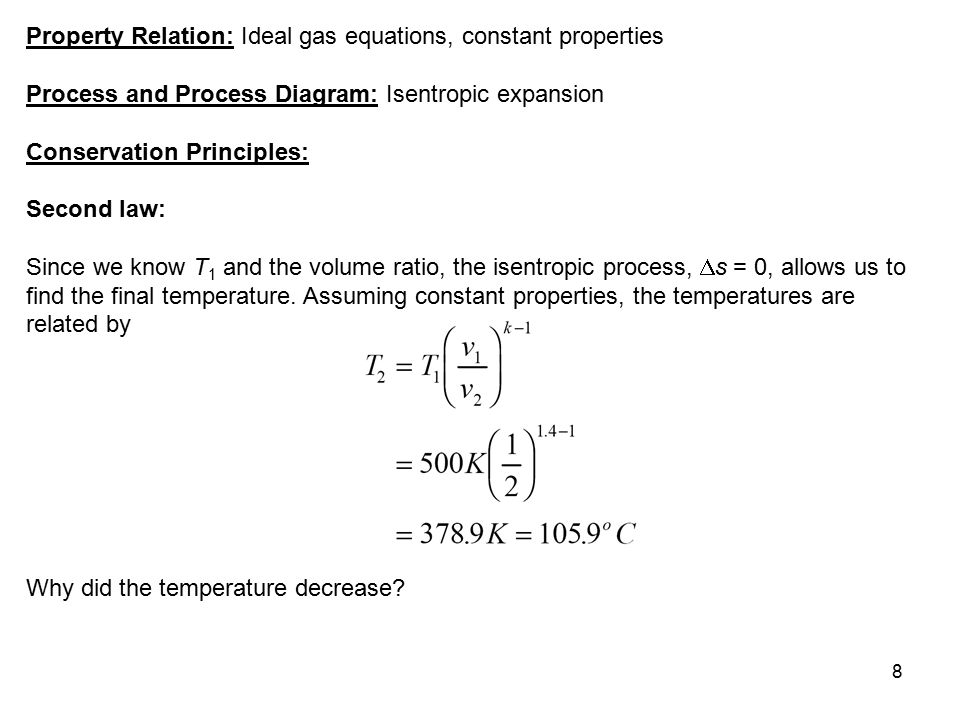 Property Relation: Ideal gas equations, constant properties