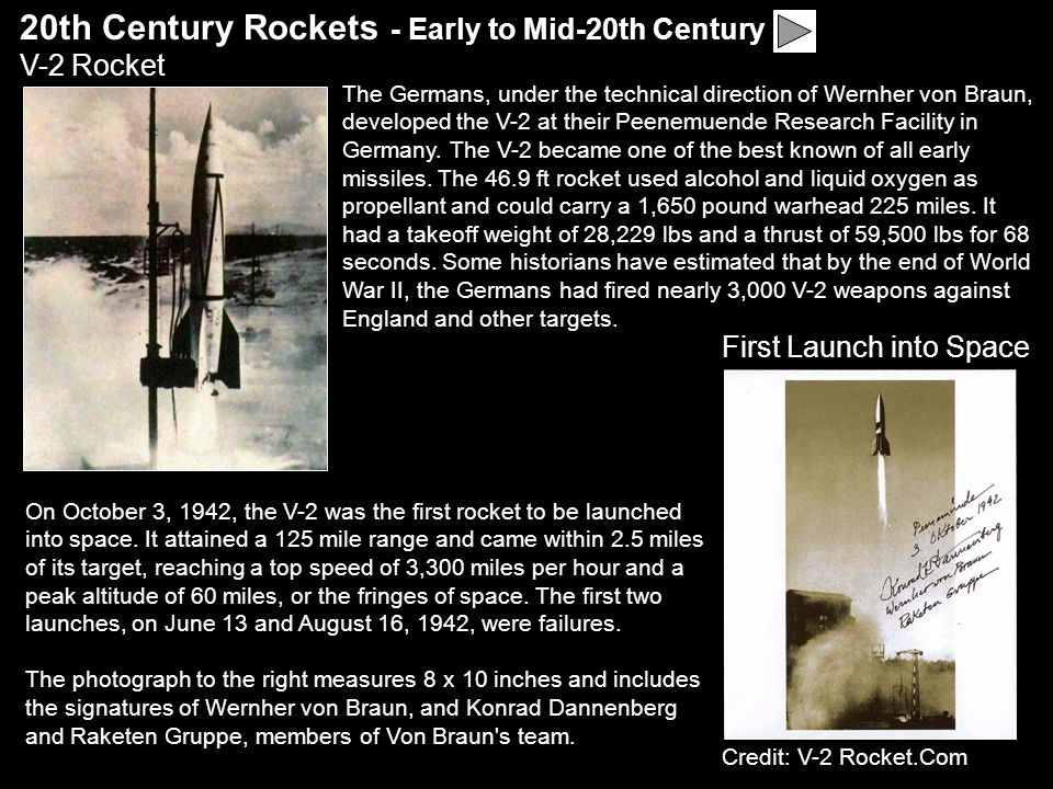 20th Century Rockets - Early to Mid-20th Century