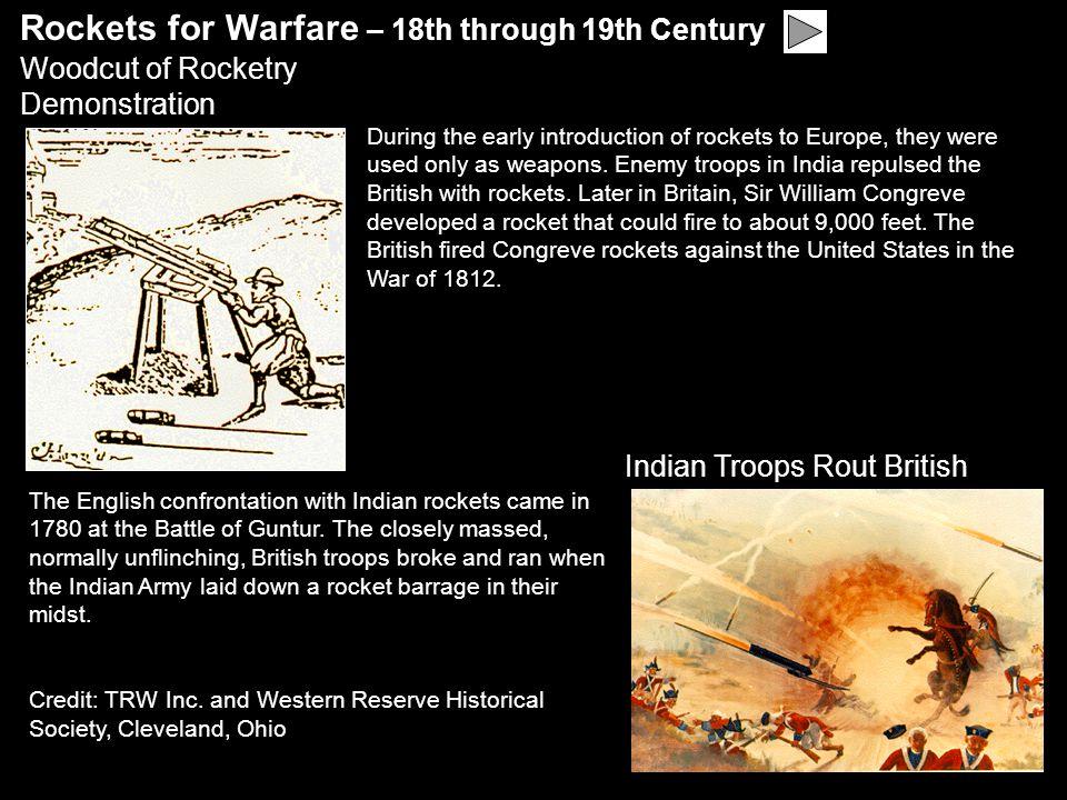 Rockets for Warfare – 18th through 19th Century