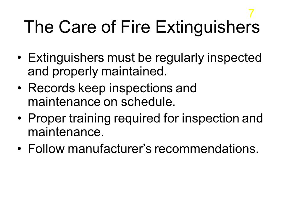 The Care of Fire Extinguishers
