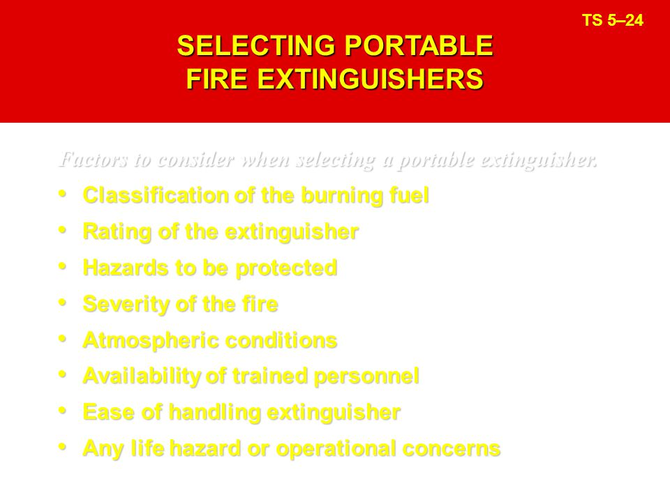 SELECTING PORTABLE FIRE EXTINGUISHERS