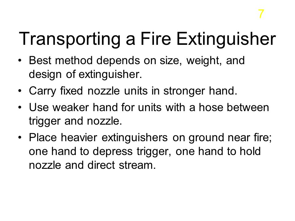 Transporting a Fire Extinguisher