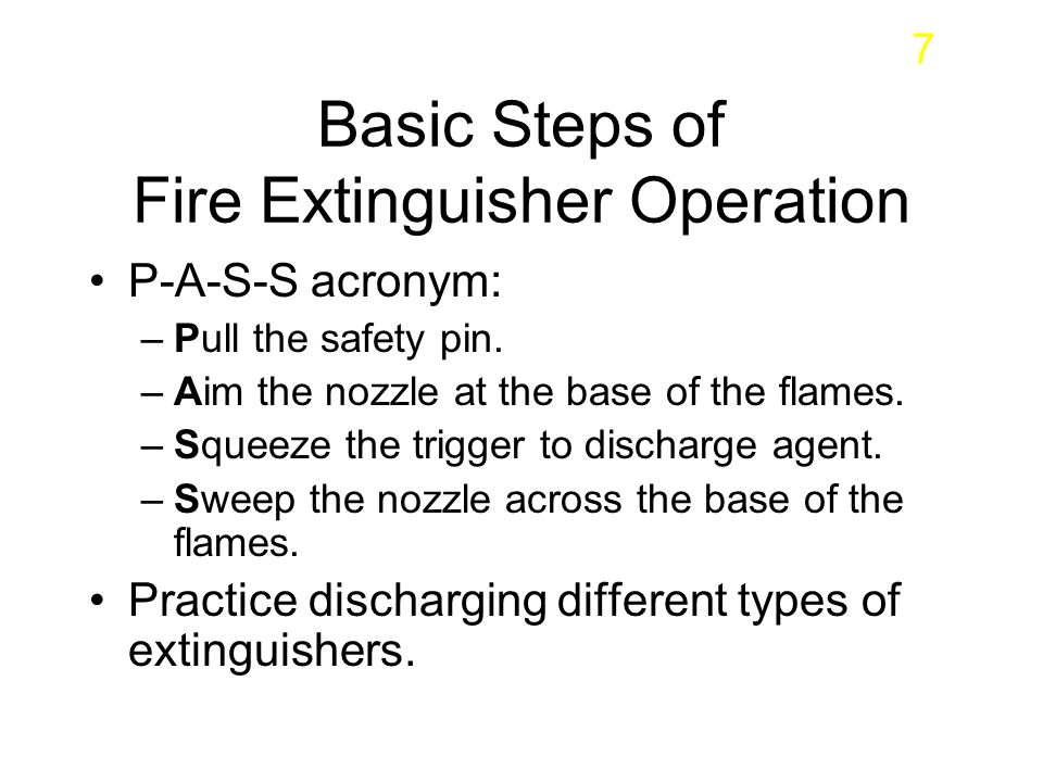 Basic Steps of Fire Extinguisher Operation