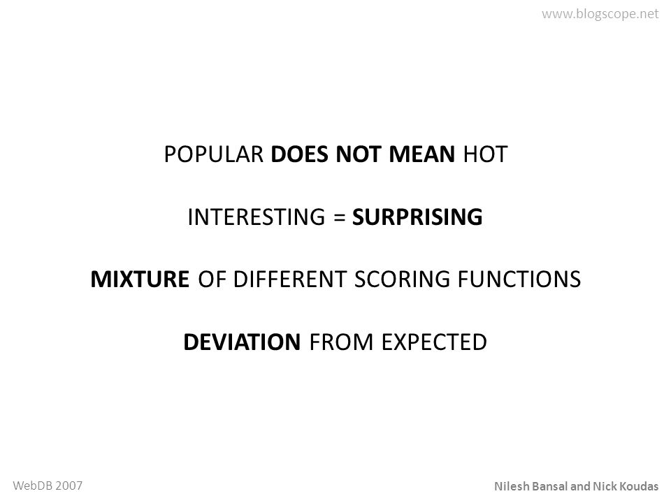 POPULAR DOES NOT MEAN HOT INTERESTING = SURPRISING