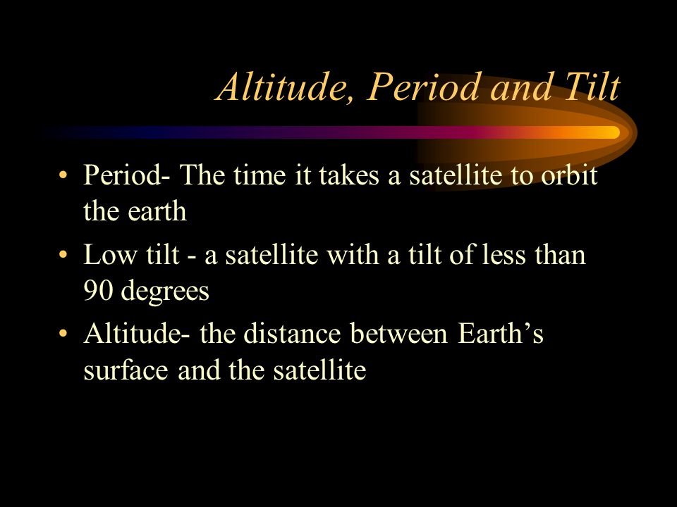 Altitude, Period and Tilt